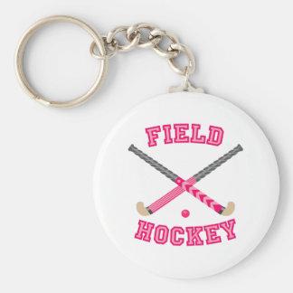 Logotipo rosado del hockey hierba llavero redondo tipo pin