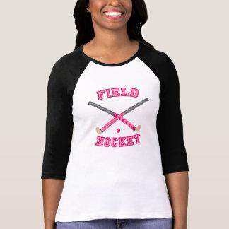 Logotipo rosado del hockey hierba playeras