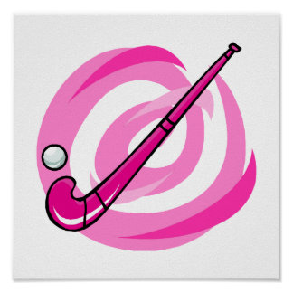 Logotipo rosado del hockey hierba póster