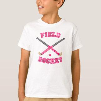 Logotipo rosado del hockey hierba remera