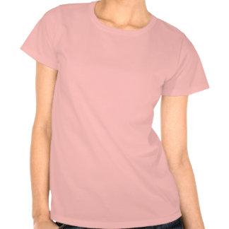 Logotipo rosado menudo del tren de las señoras del camiseta