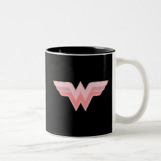 Logotipo rosado y anaranjado de la Mujer Maravilla Taza De Café De Dos Colores
