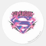 Logotipo rosado y púrpura de Supergirl del Grunge Pegatina Redonda