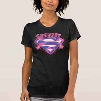 Logotipo rosado y púrpura de Supergirl del Grunge T-shirts