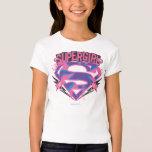 Logotipo rosado y púrpura de Supergirl del Grunge Playera