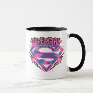 Logotipo rosado y púrpura de Supergirl del Grunge Taza