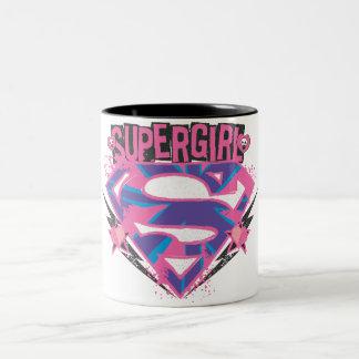 Logotipo rosado y púrpura de Supergirl del Grunge Taza De Café De Dos Colores