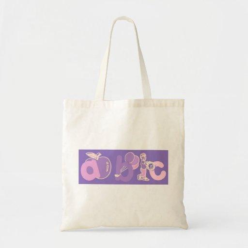 Logotipo rosado y púrpura del alfabeto de ABC para Bolsas Lienzo