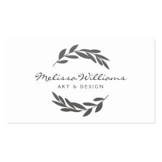 Logotipo rústico de la guirnalda de la rama de oli tarjetas de visita