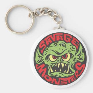 Logotipo salvaje de los monstruos llavero redondo tipo pin