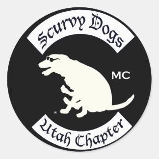 Logotipo Scurvy Reversed.ai del perro Pegatina Redonda