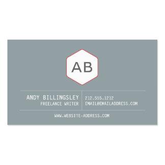 Logotipo simple del monograma del vintage en gris tarjetas de negocios