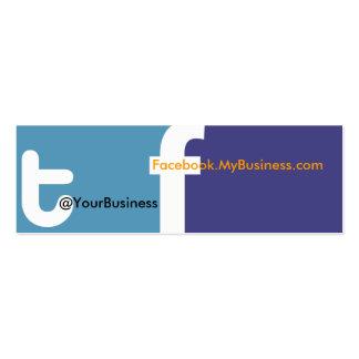 Logotipo social de la parte posterior del tf 2,0 d tarjetas de visita mini