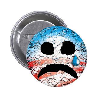 Logotipo triste de Obama de la cara Pin Redondo De 2 Pulgadas