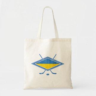 Logotipo ucraniano de la bandera del hockey bolsa tela barata