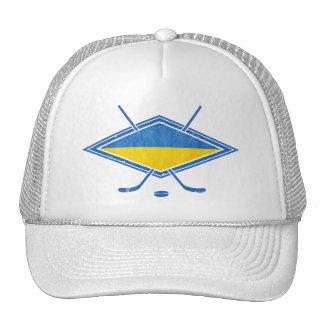 Logotipo ucraniano de la bandera del hockey gorros