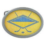 Logotipo ucraniano de la bandera del hockey hebilla cinturon oval