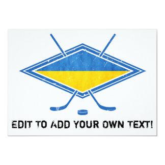 """Logotipo ucraniano de la bandera del hockey invitación 5"""" x 7"""""""