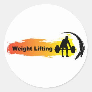 Logotipo único del levantamiento de pesas pegatina redonda