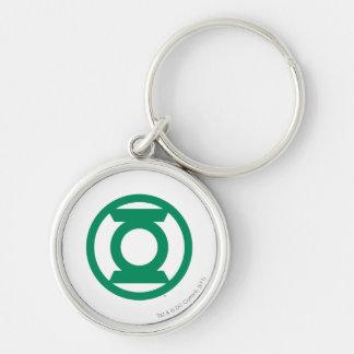 Logotipo verde 13 de la linterna llavero redondo plateado