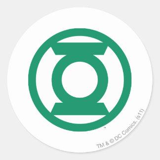 Logotipo verde 13 de la linterna pegatina redonda