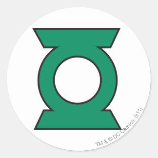 Logotipo verde 15 de la linterna pegatina redonda