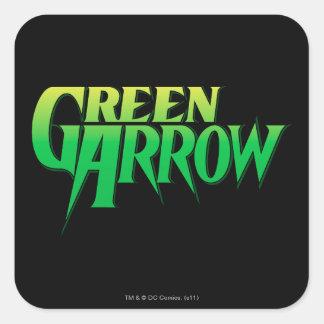 Logotipo verde 3 de la flecha pegatina cuadradas personalizada