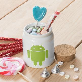 Logotipo verde androide del robot plato para caramelo