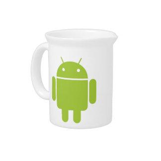 Logotipo verde androide del robot jarras