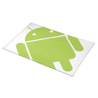 Logotipo verde androide del robot manteles