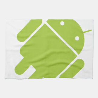 Logotipo verde androide del robot toalla de mano
