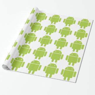 Logotipo verde androide del robot papel de regalo