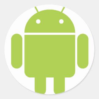 Logotipo verde androide del robot pegatina redonda