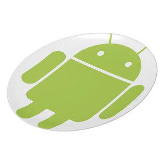 Logotipo verde androide del robot plato para fiesta