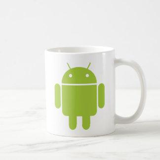 Logotipo verde androide del robot taza básica blanca