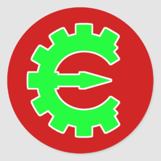 Logotipo verde básico pegatina redonda