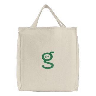 Logotipo verde bordado de los bolsos w bolsa