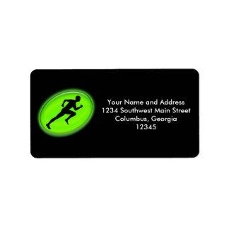 Logotipo verde de la aptitud del resplandor etiqueta de dirección