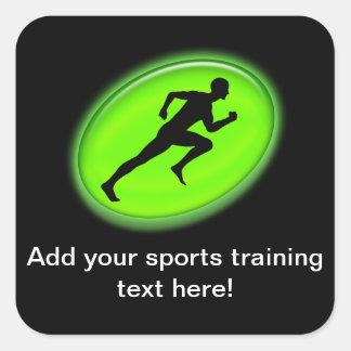 Logotipo verde de la aptitud del resplandor pegatina cuadrada