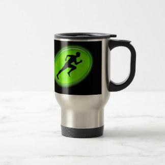Logotipo verde de la aptitud del resplandor taza de viaje