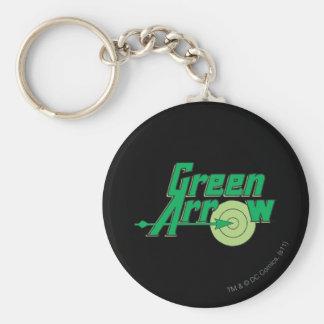 Logotipo verde de la flecha llaveros