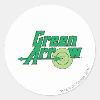 Logotipo verde de la flecha etiquetas redondas