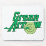 Logotipo verde de la flecha tapetes de raton