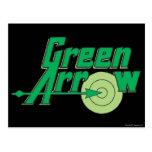 Logotipo verde de la flecha tarjetas postales