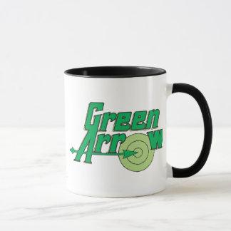 Logotipo verde de la flecha taza
