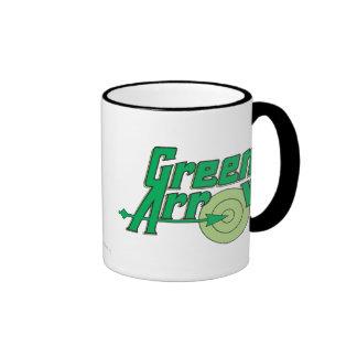 Logotipo verde de la flecha tazas de café