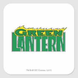 Logotipo verde de la linterna - llamas amarillas pegatina cuadrada