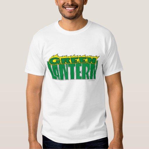 Logotipo verde de la linterna - llamas amarillas playeras