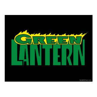 Logotipo verde de la linterna - llamas amarillas postales