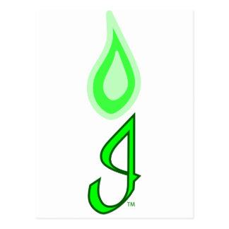 Logotipo verde de la llama postal